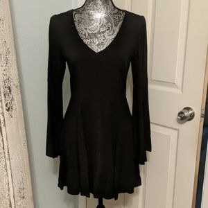 Express black bell sleeve dress